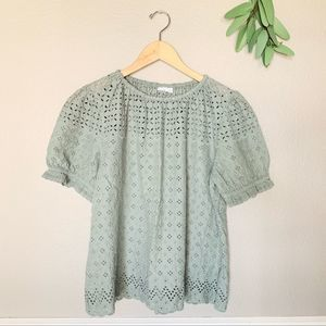 GAP Sage Green Feminine Eyelet Blouse Size Large